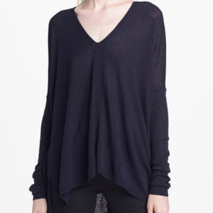 Vince Navy Wool Blend Double V-Neck Sweater  S